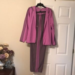 Two tone purple athletic suit.